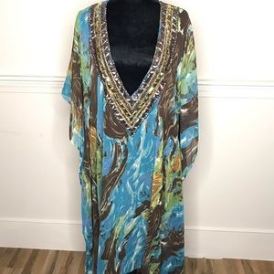 Other - Chiffon Beach cover up with gem neckline